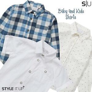 Newborn Baby Boys Cute Stylish Formal Casual Party Smart Shirt Short Long Sleeve