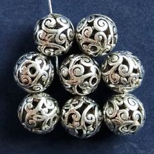 20Pcs Carved Tibet Silver Hollow Out Ball Pendant Bead 14mm JC448