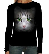 Velocitee Ladies Long Sleeve T-Shirt Cat Face Fashion Feline Kitty Pussy A18218