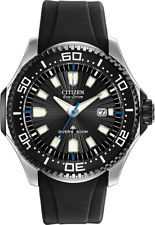 Citzen Eco Drive Black Dial Silver Case Rubber Band Men's Watch BN0085-01E