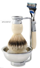 Edwin Jagger Riva 4pc Best Badger Im  Ivory Mach3 Razor Compatible Shaving Set