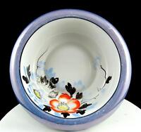 "JAPAN PORCELAIN BLUE LUSTER WARE FLORAL ROLLED SCALLOPED RIM 8 1/2"" BOWL"