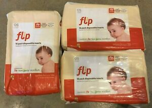 3x flip packs NEW disposable diaper inserts OS one size 3-35 lbs baby eco 21-408