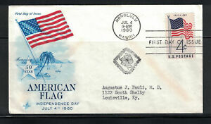 US 1960: #1153 Independence Day Flag SA Art Craft Cachet  FDC; Lot#4/10