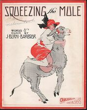 Squeezing the Mule 1915 Large Format Sheet Music