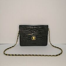 Gold Reptile Genuine Crocodile Black Glossy Leather Two-way Bag - Selling Low