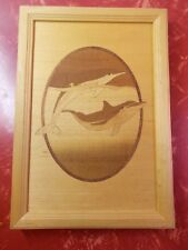 Hudson River Wood Inlay Marquetry Pair of DOLPHINS #53 Nelson