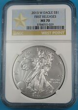 2013 W AMERICAN SILVER EAGLE NGC MS70 BURNISHED FIRST RELEASES STAR LABEL
