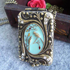 Bronze Antik Medaillon Foto Anhänger öffnen Vintage Medallion aufklappbar 2Fotos