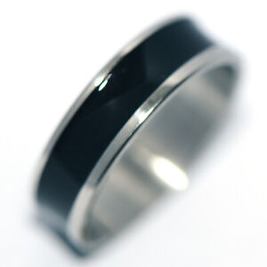 Black Mens Womens Band Ring Stainless Steel Rings Fashion Jewelry Size 8
