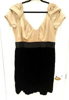 Monsoon Gold Silk Mix & Black Velvet Evening Prom Dress Size UK 16