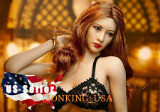"1/6 Female Head Sculpt Brown Hair For 12"" Hot Toys Phicen Suntan Figure ❶USA❶"