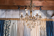 "SALE Versailles 6 Light Antique Bronze & Golden Teak Crystal Chandelier 23""x26"""
