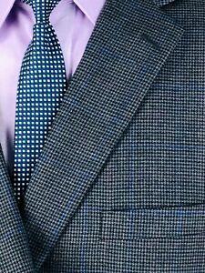 48R Jos A Bank Mens 2 Bttn Wool Blazer Sport Coat Dark Pencil Gray Houndstooth