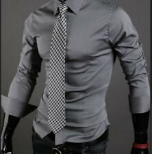 Men's Lapel Long sleeve Shirts Business Formal dress Buttons Blouses Casual New