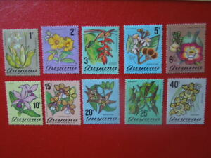 G2742 GUYANA  1971 ORCHIDS PART   SET  OF  10  MLH