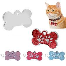 KQ_ Pet Dog Cat Puppy Engraved ID Name Bone Shape Collar Tag Plate Pendant Decor