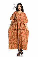 Indian Cotton Designer Long Kaftan Dress Nightwear Sleepwear Casual Caftan Tunic
