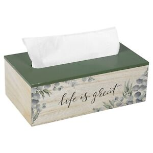 Rectangular Floral Wooden Tissue Napkin Box Cover Holder With Hinged Green Lid