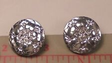 "2 Vintage Large Glass Buttons Silver Color Heart Flower Design Czech 15/16"" #52"