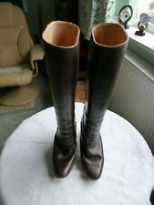 Retro Vintage BALLY Womens Brown Leather Knee High Heeled Boots Size 7 Pull Up