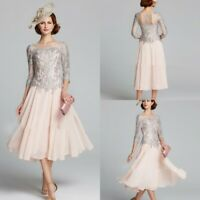 Pink Grey Mother of the Bride Dresses Knee Length 3/4 Sleeves Appliques Lace New