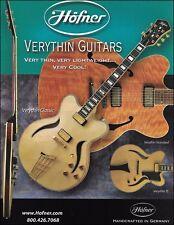 The Hofner Verythin Classic Standard JS electric guitars ad 8 x 11 advertisement