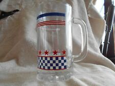 Checkered Red Star Mug (s) Glass Banded 16 oz D Handle White Navy Blue !