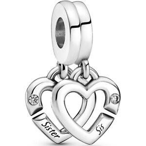 Original PANDORA® Charm Element 799538 C01 Sister Sis Silber Beads
