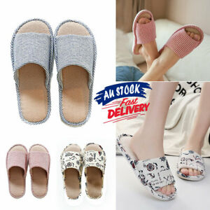 Warm Shoes Slippers Floral Indoor Floor Non-slip Soft Home House Linen Couple