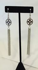 SILVER LONG HAUTE COUTURE CLOVER FLOWER MULTI CHAIN Tassel Dangle EARRINGS 4""