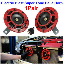 2Pcs Red 12V Super Loud Compact Electric Blast Super Tone Hella Horn F Car Truck
