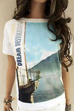 MARCCAIN Damen Sweatshirt N4 40 L Baumwolle weiß mit Motiv Pullover Shirt