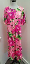 Lauhala vintage 60s 70s Hawaiian dress hot pink floral tea length size medium