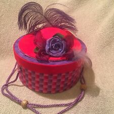 Red Hat Society Sewing Box With Pin Cushion Lid Covered In Fabric