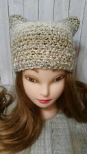 Fluffy beige  kitty pussy cat ears chunky hat crochet womans hand made new