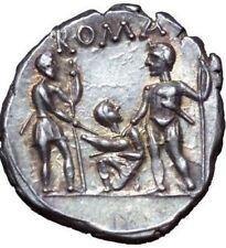 137 B.C. NGC CH AU Titus Veturius Roman Republic Silver Denarius Swearing Oath