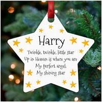 Christmas Tree STAR Memorial Decoration Personalised Mum Dad Nan Wife Ornament