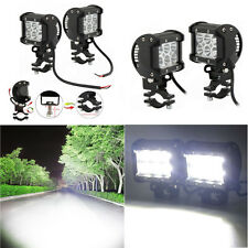 2 Pcs Adjustable 18W Cree LED Motorcycle ATV White Headlight Spotlight W/Bracket