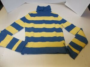 Womens Size S Abercrombie& Fitch Lambswool Turtleneck Sweater Blue/Yellow Stripe