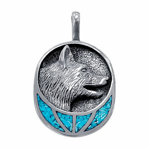 925 Sterling Silver Turquoise Gemstone Inlay Wolf Head Design Pendant #GP105