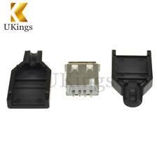 10PCS Type A Female USB 4 Pin Plug Socket Connector&Plastic Cover