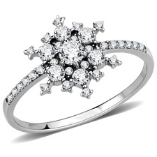 Ladies cluster ring simulated diamond snowflake stainless steel silver new A317