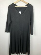 Lane Bryant Size 22/24 Gray Fit & Flair Ribbed Knit NEW Sweater Dress V-Neck