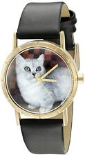 Nwot Whimsical Watches P0120047 Classic Munchkin Cat Black Leather Photo Watch