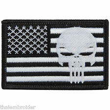 Skull Punisher Motorcycle Biker Rock Sniper US Army Navy Seal Iron on Patch P001