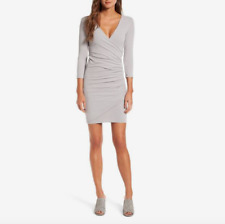 NWT $225 JAMES PERSE TUCKED FAUX WRAP FITTED DRESS FOG GREY 3 (L)