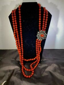 NEW HEIDI DAUS CARNELIAN Necklace LARGE with Beaded Station