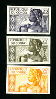 Republic of the Congo Stamps Rare Old Set of 3 Trial Colors NH