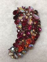 Austrian Crystal Brooch 1940s 1950s Aurora Borealis Glass Statement Huge Vintage